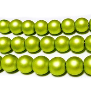 Perle sticla, mate, verde-galbui, 8mm 10 buc