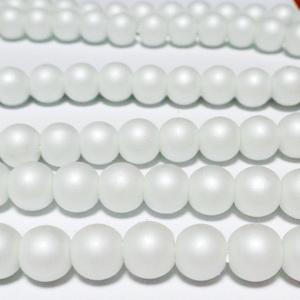 Perle sticla, mate, albe, 8mm 10 buc