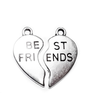 2 pandantive argint tibetan, inima franta, scris BEST FRIEND, 24x13mm  1 set