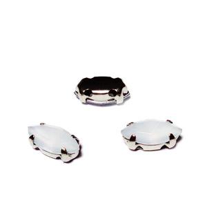 Margele montee rhinestone, plastic, albe/efect opalite, ochi de cal, 8x4x3mm 1 buc