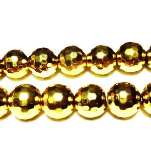 Hematite nemagnetice, stardust, placate auriu, 12mm 1 buc