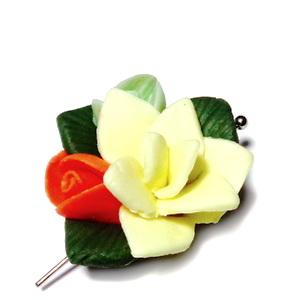 Margele/cabochon portelan, floare galbena,  25~29x26~29x11~14mm 1 buc