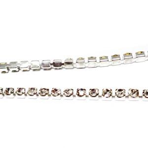 Margele montee rhinestone, insiruite, sticla transparenta pe baza argintie, 2.5x2.5x2.5 mm 1 m