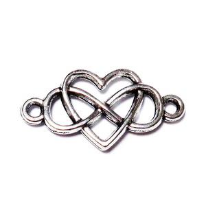 Conector/link tibetan, infinit si inima, 13x24.5x2mm 1 buc