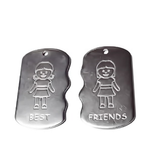 2 pandantive otel inoxidabil 304, best friends, 2 fetite, 27x16x1.2mm 1 set