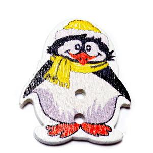 Nasturi lemn, pinguin cu fular galben, 29x25x2.5mm 1 buc