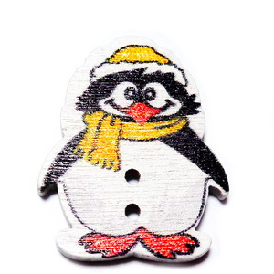 Nasturi lemn, pinguin cu fular portocaliu, 29x25x2.5mm 1 buc