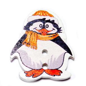 Nasturi lemn, pinguin cu fular portocaliu inchis, 29x25x2.5mm 1 buc