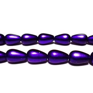 Margele sticla, mate, violet, lacrima 13x8mm 1 buc
