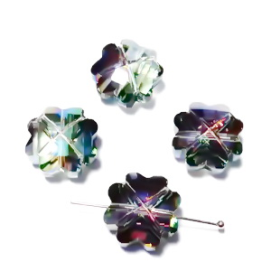 Margele sticla, electroplacate, trifoi verde, 17x17x9mm 1 buc