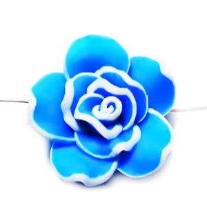 Margele polymer, floare bleu cu contur alb, 23~25x11mm 1 buc