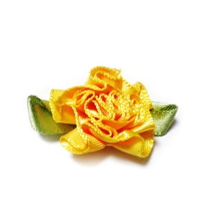 Floare saten portocalie, lucrata manual, 33x27x12mm 1 buc