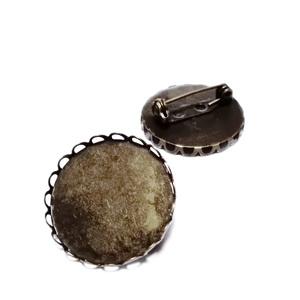 Baza cabochon, culoare bronz, brosa 26x9, cu siguranta, interior 25mm 1 buc