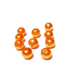 Perle plastic ABS, imitatie perle portocalii, 8mm 10 buc