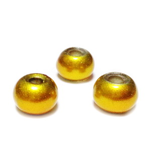 Margele sticla tip Pandora, aurii, mate, 11x8mm 1 buc