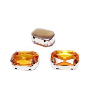 Margele montee rhinestone, plastic, portocalii, dreptunghiulare, 14x10x5mm 1 buc