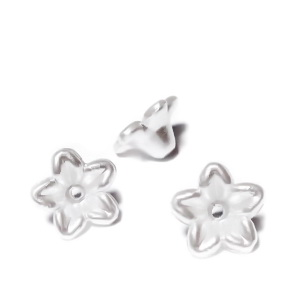 Margele  plastic ABS, imitatie perle albe, floare 10x10x5mm 1 buc