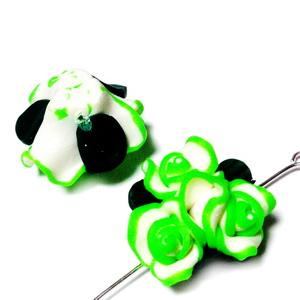 Margele polymer, buchet 3 flori albe cu verde-lime, 22-23mm 1 buc