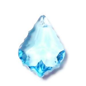 Pandantiv sticla, bleu, multifete, frunza 22x15.5x8.5mm 1 buc