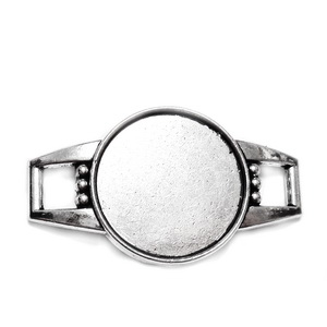 Conector / link cabochon, argint tibetan, 39x22x5mm, interior: 20mm 1 buc