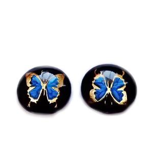 Cabochon rasina transparenta, negru cu fluturas albastru cu argintiu, 14x4.5mm 1 buc