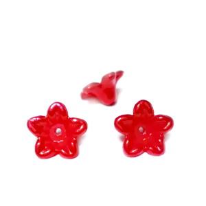 Floare plastic ABS, imitatie perle plastic, rosie, 10x10.5x5mm 1 buc