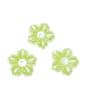 Floare cu 5 petale, plastic ABS, imitatie perle plastic, verde, 12x13x1.5mm 1 buc