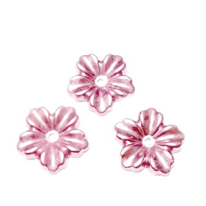Floare cu 5 petale, plastic ABS, imitatie perle plastic, mov-roz, 12x13x1.5mm 1 buc