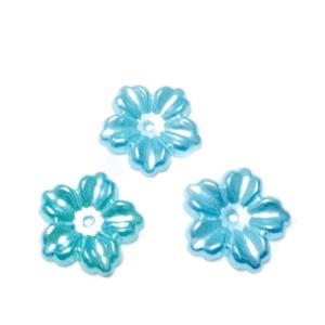 Floare cu 5 petale, plastic ABS, imitatie perle plastic, turcoaz, 12x13x1.5mm 1 buc