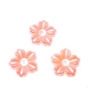 Floare cu 5 petale, plastic ABS, imitatie perle plastic, roz somon inchis, 12x13x1.5mm 1 buc
