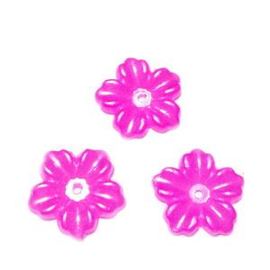 Floare cu 5 petale, plastic ABS, imitatie perle plastic, fucsia, 12x13x1.5mm 1 buc