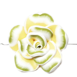 Margele polymer, floare galbena cu turcoaz si alb, 40x15mm 1 buc