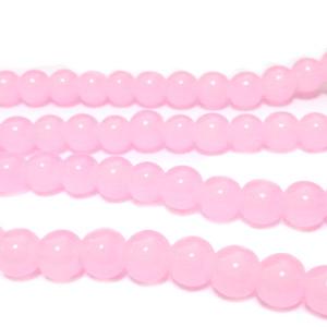 Margele sticla, imitatie jad roz, 6~6.5mm 10 buc
