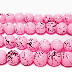 Margele sticla, roz cu liniute negre, 8mm 10 buc