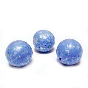 Margele polymer, prelucrate manual, albastre cu insertii sidef multicolor, 11-12mm 1 buc
