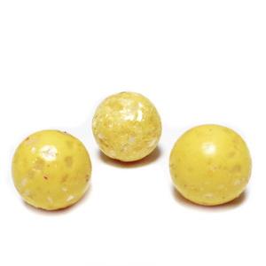 Margele polymer, prelucrate manual, galbene cu insertii sidef multicolor, 11-12mm 1 buc