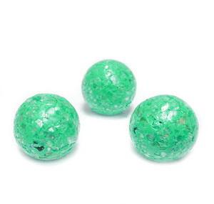 Margele polymer, prelucrate manual, verde intens cu insertii sidef multicolor, 11-12mm 1 buc