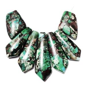 Piatra aurie cu regalite verde, set 7 buc 1 buc