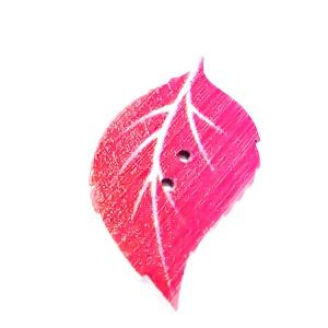 Nasturi lemn, frunza roz, 34x20x2mm 1 buc