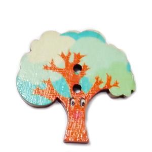 Nasturi lemn, copac turcoaz, 28x28x2mm 1 buc