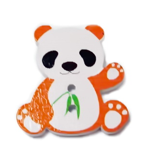 Nasturi lemn, urs ab cu portocaliu, 28x26x2mm 1 buc