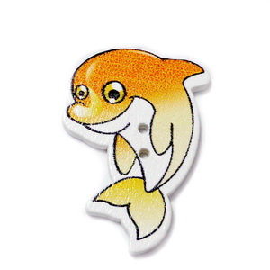 Nasturi lemn, delfin alb cu portocaliu, 32x22x2mm 1 buc