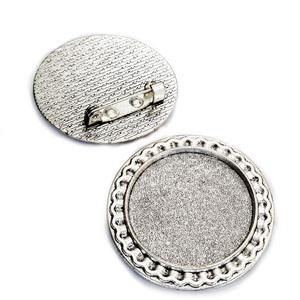 Baza cabochon, argint tibetan, brosa 31mm, interior 25mm 1 buc