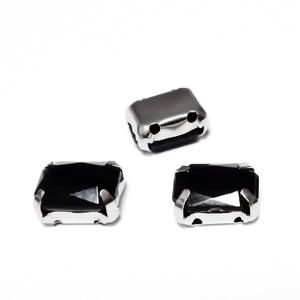 Margele montee rhinestone, plastic, negre, dreptunghiulare, 8x6x4mm 1 buc