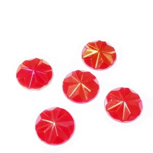 Cabochon plastic rosu cu reflexe AB, multifete, 12x3mm 1 buc