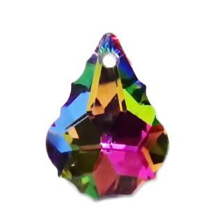 Pandantiv sticla, cu reflexe multicolore, multifete, frunza 22x15.5x8.5mm 1 buc