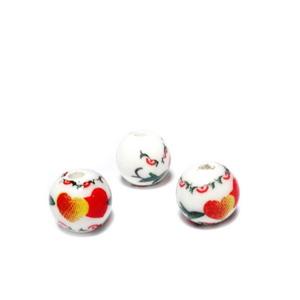Margele portelan, albe cu inimioare si flori, 6mm 1 buc