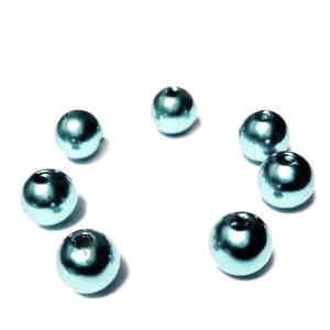 Perle plastic ABS, imitatie perle, albastru-gri, 8mm 10 buc