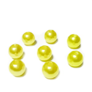 Perle plastic ABS, imitatie perle, galbene, 8mm 10 buc
