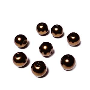Perle plastic ABS, imitatie perle, maro, 8mm 10 buc